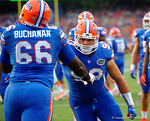 Florida Gators offensive lineman Taven Bryan in oregame drills during the Gators 61-13 win over New Mexico State to start the 2015 season.  September 5th, 2015.  Gator Country Photo by David Bowie.