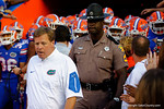Florida Gators head coach Jim McElwain walks out of the tunnel for his first game as head coach during the Gators 61-13 win over New Mexico State to start the 2015 season.  September 5th, 2015.  Gator Country Photo by David Bowie.