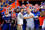 The Florida Gators are held back before taking the field during the Gators 61-13 win over New Mexico State to start the 2015 season.  September 5th, 2015.  Gator Country Photo by David Bowie.