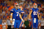 Florida Gators quarterback Will Grier and Florida Gators tight end Jake McGee look to the sideline for the playcall during the Gators 61-13 win over New Mexico State to start the 2015 season.  September 5th, 2015.  Gator Country Photo by David Bowie.