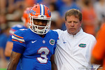 Florida Gators head coach Jim McElwain talks with Florida Gators quarterback Treon Harris during the 61-13 win over New Mexico State.  September 5th, 2015.  Gator Country Photo by David Bowie.