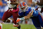 Florida Gators linebacker Alex Anzalone dives tp make a tackle during the Gators 61-13 win over New Mexico State to start the 2015 season.  September 5th, 2015.  Gator Country Photo by David Bowie.