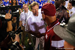 Florida Gators head coach Jim McElwain shakes hands with New Mexico State head coach Doug Martin during the Gators 61-13 win over New Mexico State to start the 2015 season.  September 5th, 2015.  Gator Country Photo by David Bowie.