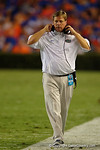 Florida Gators head coach Jim McElwain walking the sideline during the Gators 61-13 win over New Mexico State to start the 2015 season.  September 5th, 2015.  Gator Country Photo by David Bowie.
