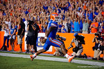 Florida Gators running back Kelvin Taylor leaps into the air for a touchdown during the 61-13 win over New Mexico State.  September 5th, 2015.  Gator Country Photo by David Bowie.