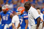 Florida Gators defensive line coach Chris Rumph showing his intensity during the Gators 61-13 win over New Mexico State to start the 2015 season.  September 5th, 2015.  Gator Country Photo by David Bowie.