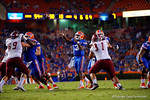 Florida Gators quarterback Treon Harris throws into the endzone for a touchdown during the 61-13 win over New Mexico State.  September 5th, 2015.  Gator Country Photo by David Bowie.