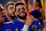 Florida Gators quarterback Will Grier and the Florida Gators celebrate following their 61-13 win over the New Mexico State Aggies.  September 5th, 2015.  Gator Country Photo by David Bowie.