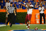 New Mexico State Aggies running back Larry Rose III signals to the Gator fans following a touchdown during the Gators 61-13 win over New Mexico State to start the 2015 season.  September 5th, 2015.  Gator Country Photo by David Bowie.