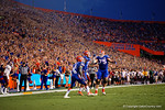 Florida Gators offensive lineman Chaz Green, Florida Gators running back Brandon Powell and Florida Gators wide receiver Demarcus Robinson celebrate as the Gators go up 6-0 during the Gators 61-13 win over New Mexico State to start the 2015 season.  September 5th, 2015.  Gator Country Photo by David Bowie.