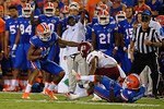 Florida Gators wide receiver Demarcus Robinson tries to juke during the Gators 61-13 win over New Mexico State to start the 2015 season.  September 5th, 2015.  Gator Country Photo by David Bowie.