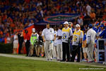 Florida Gators head coach Jim McElwainn during the Gators 61-13 win over New Mexico State to start the 2015 season.  September 5th, 2015.  Gator Country Photo by David Bowie.