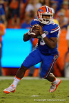 Florida Gators quarterback Treon Harris sprints out of the pocket during the Gators 61-13 win over New Mexico State to start the 2015 season.  September 5th, 2015.  Gator Country Photo by David Bowie.