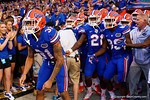 Florida Gators defensive back Jalen Tabor and the Gators wait to take the field during the Gators 61-13 win over New Mexico State to start the 2015 season.  September 5th, 2015.  Gator Country Photo by David Bowie.