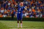Florida Gators defensive back Vernon Hargreaves, III dancing in-between plays during the Gators 61-13 win over New Mexico State to start the 2015 season.  September 5th, 2015.  Gator Country Photo by David Bowie.