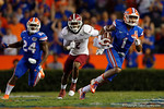 Florida Gators defensive back Vernon Hargreaves, III sprints upfield following an interception during the Gators 61-13 win over New Mexico State to start the 2015 season.  September 5th, 2015.  Gator Country Photo by David Bowie.