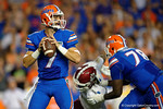 Florida Gators quarterback Will Grier looking downfield for an open receiver during the 61-13 win over New Mexico State.  September 5th, 2015.  Gator Country Photo by David Bowie.