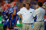 Florida Gators head coach Jim McElwain during the 61-13 win over New Mexico State.  September 5th, 2015.  Gator Country Photo by David Bowie.