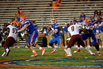 Florida Gators quarterback Will Grier drops back to pass during the Gators 61-13 win over New Mexico State to start the 2015 season.  September 5th, 2015.  Gator Country Photo by David Bowie.