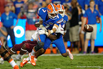 Florida Gators quarterback Will Grier fumbles during the 61-13 win over New Mexico State.  September 5th, 2015.  Gator Country Photo by David Bowie.