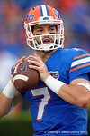 Florida Gators quarterback Will Grier throwing in pregame during the Gators 61-13 win over New Mexico State to start the 2015 season.  September 5th, 2015.  Gator Country Photo by David Bowie.