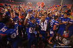 The Florida Gators celebrate following their 61-13 win over the New Mexico State Aggies.  September 5th, 2015.  Gator Country Photo by David Bowie.