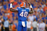 Florida Gators linebacker Jarrad Davis motions to the crowd to get loud prior to kickoff during the Gators 61-13 win over New Mexico State to start the 2015 season.  September 5th, 2015.  Gator Country Photo by David Bowie.