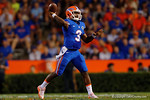 Florida Gators quarterback Treon Harris throws downfield during the Gators 61-13 win over New Mexico State to start the 2015 season.  September 5th, 2015.  Gator Country Photo by David Bowie.