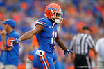 Florida Gators wide receiver Demarcus Robinson in pregame flying around the field during the Gators 61-13 win over New Mexico State to start the 2015 season.  September 5th, 2015.  Gator Country Photo by David Bowie.