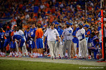 Florida Gators head coach Jim McElwain walking the sidleine during the Gators 61-13 win over New Mexico State to start the 2015 season.  September 5th, 2015.  Gator Country Photo by David Bowie.