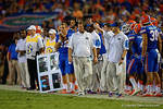 Florida Gators head coach Jim McElwain walking the sideline during the 61-13 win over New Mexico State.  September 5th, 2015.  Gator Country Photo by David Bowie.