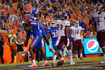 Florida Gators wide receiver Ahmad Fulwood jumps onto the back of Florida Gators wide receiver C'yontai Lewis after Lewis caught another touchpass pass during the 61-13 win over New Mexico State.  September 5th, 2015.  Gator Country Photo by David Bowie.