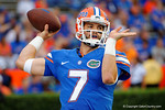 Florida Gators quarterback Will Grier throwing in pregame during the Gators 61-13 win over New Mexico State to open the 2015 season.  September 5th, 2015.  Gator Country Photo by David Bowie.