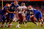 Florida Gators running back Jordan Cronkrite rushing during the Gators 61-13 win over New Mexico State to start the 2015 season.  September 5th, 2015.  Gator Country Photo by David Bowie.