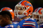 Florida Gators offensive lineman Taven Bryan looks up to the jumbotron during the Gators 61-13 win over New Mexico State to start the 2015 season.  September 5th, 2015.  Gator Country Photo by David Bowie.