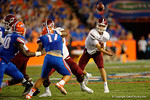 New Mexico State Aggies quarterbacl Tyler Rodgers throws downfield during the Gators 61-13 win over New Mexico State to start the 2015 season.  September 5th, 2015.  Gator Country Photo by David Bowie.