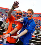 Fans gator chomp into the camera during the 61-13 win over New Mexico State.  September 5th, 2015.  Gator Country Photo by David Bowie.