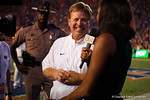 Florida Gators head coach Jim McElwain smiles during an interview with the SEC Network during the 61-13 win over New Mexico State.  September 5th, 2015.  Gator Country Photo by David Bowie.