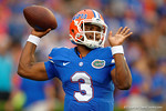 Florida Gators quarterback Treon Harris throwing in pregame during the Gators 61-13 win over New Mexico State to start the 2015 season.  September 5th, 2015.  Gator Country Photo by David Bowie.
