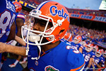 Florida Gators quarterback Treon Harris sprints onto the field for the start of the game during the Gators 61-13 win over New Mexico State to start the 2015 season.  September 5th, 2015.  Gator Country Photo by David Bowie.
