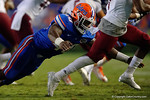 Florida Gators linebacker Jarrad Davis makes a diving tackle during the Gators 61-13 win over New Mexico State to start the 2015 season.  September 5th, 2015.  Gator Country Photo by David Bowie.