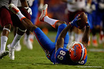 Florida Gators wide receiver Alvin Bailey makes a bobble catch ion his back during the Gators 61-13 win over New Mexico State to start the 2015 season.  September 5th, 2015.  Gator Country Photo by David Bowie.