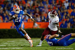 Florida Gators running back Kelvin Taylor rushes downfield during the 61-13 win over New Mexico State.  September 5th, 2015.  Gator Country Photo by David Bowie.