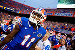Florida Gators wide receiver Demarcus Robinson sprints onto the field during the Gators 61-13 win over New Mexico State to start the 2015 season.  September 5th, 2015.  Gator Country Photo by David Bowie.