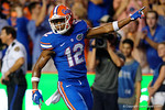 Florida Gators quarterback Josh Grady celebrating during the Gators 61-13 win over New Mexico State to start the 2015 season.  September 5th, 2015.  Gator Country Photo by David Bowie.