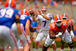 Florida Gators quarterback Will Grier eyes in a snap during the 2015 Orange and Blue Debut.  April 11th 2015. Gator Country photo by David Bowie.