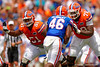 Florida Gators offensive line Antonio Riles and Florida Gators offensive lineman David Sharpe blocking Florida Gators linebacker LeAndre Rembert during the 2015 Orange and Blue Debut.  April 11th 2015. Gator Country photo by David Bowie.