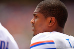 Florida Gators quarterback Treon Harris looks on from the sideline during the 2015 Orange and Blue Debut.  April 11th 2015. Gator Country photo by David Bowie.
