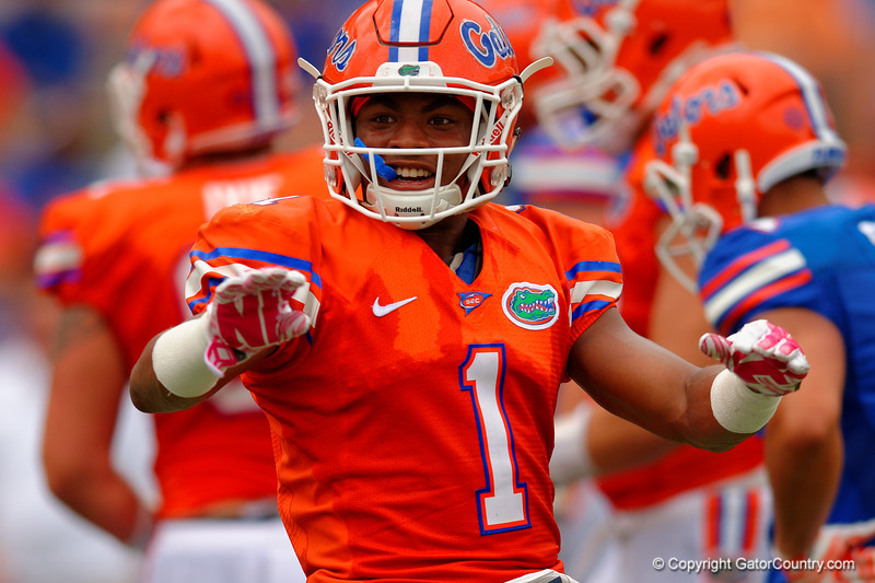 Florida Gators defensive back Vernon Hargreaves, III celebrates after breaking up another pass during the 2015 Orange and Blue Debut.  April 11th 2015. Gator Country photo by David Bowie.