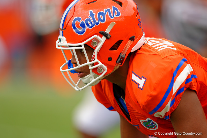 Florida Gators defensive back Vernon Hargreaves, III gets set for a the snap during the 2015 Orange and Blue Debut.  April 11th 2015. Gator Country photo by David Bowie.